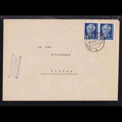 Wilhelm Pieck 12 Pfg. 2x auf Brief ab Hirschfelde (Kr. Zittau) 03.4.51