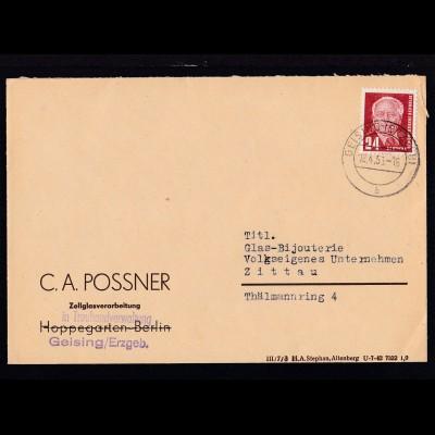 Wilhem Pieck 24 Pfg. auf Firmenbrief (C.A. Possner, Geising) ab Geising (Erzgeb)