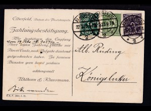Arbeiter 100 Pfg., Posthorn 4 M. und 20 M. auf Firmenpostkarte