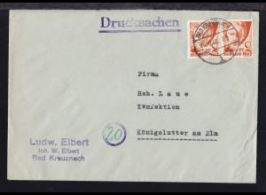 Freimarke 2 Pfg. waager. Paar auf Firmendrucksache( Iudw. Elbert, Bad Kreuznach)