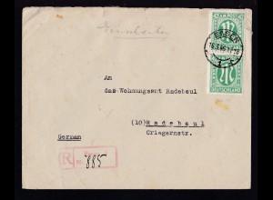 AM POST 42 Pfg. senkr. Paar auf R-Brief ab Essen 16.3.46 nach Radebeul,
