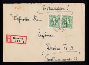 AM POST 42 Pfg. waager. Paar auf R-Brief ab Lüdenscheid 2.7.46 nach Dresden