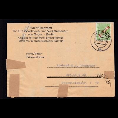 Rotaufdruck 10 Pfg. auf Brief des Hauptfinanzamt von Gross-Berlin ab Berlin W 15