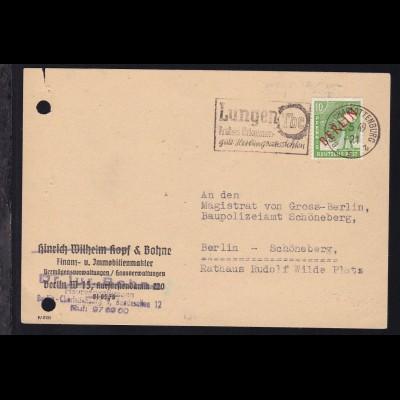 Rotaufdruck 10 Pfg. auf Postkarte ab Berlin-Charlottenburg 18.5.49 nach Berlin-
