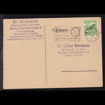 Schwarzaufdruck 10 Pfg. auf Postkarte ab Berlin-Charlottenburg 29.3.49