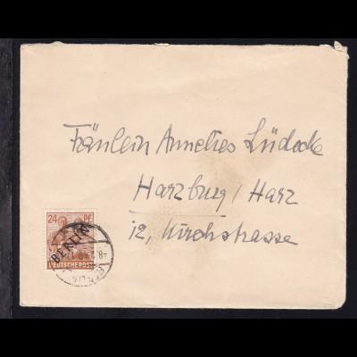 Schwarzaufdruck 24 Pfg. auf Brief ab Berlin W 62 8.2.49 nach Harzburg, Harz