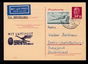 Wilheln Pieck 20 Pfg. mit Zusatzfrankatur als Luftpostkarte Messesonderflug