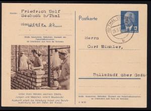 Wilheln Pieck 12 Pfg. mit Bild Bauberufe ab Thake (Harz) 25.5.54 nach Ballstadt