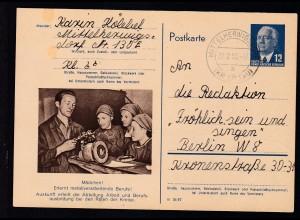 Wilheln Pieck 12 Pfg. mit Bild Metallverarbeitung ab Mittelherwigs (Kr, Zittau)