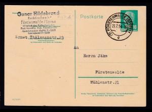 Wilheln Pieck 10 Pfg. ab Fürstenwalde (Spree) 21.7.54 nach Fürstenwalde