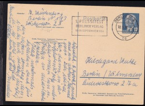 Wilheln Pieck 12 Pfg. ab Berlin N4 10.9.54 nach Berlun/Wilmersdorf