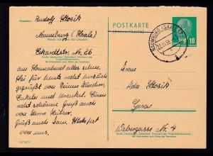 Wilheln Pieck 10 Pfg. Antwortteil ab Naumburg (Saale) 22.11.55 nach Gera