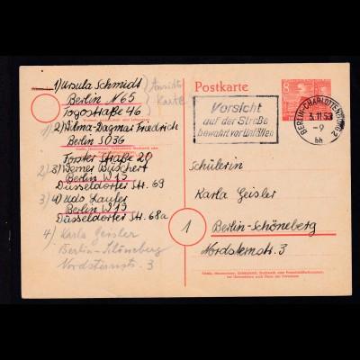 Bauten 8 Pfg. ab Berlin-Charlottenburg 3.11.53 nach Berlin-Schöneberg