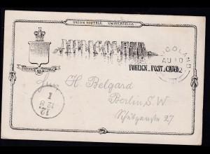 Wappen 10 Pfg. ab Helgoland AU 10 1882 nach Berlin