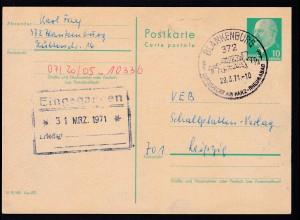 Walter Ulbricht 10 Pfg. ab Blankemburg 29.3.71 nach leipzig