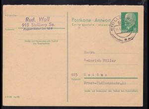 Walter Ulbricht 10 Pfg. Antwortteil ab Stollberg (Sachs) 11.11.73 nach Meißen