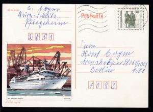 """Bauten und Denkmäler 30 Pfg. Bild MS """"Arkona"""" ab Teterow 12.12.90 nach Berlin"""