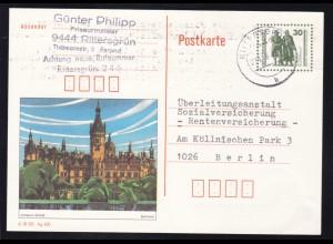 Bauten und Denkmäler 30 Pfg. Bild Schwerin ab Rittersgrün 21.12.90 nach berlin