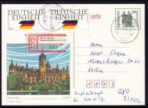 Bauten und Denkmäler 30 Pfg. Bild Schwerin mit Zusatzfrankatur als R-Postkarte