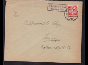 EILENBURG LAND 27.6.33 + R2 Liemehna Eilenburg Land auf Brief nach Leipzig