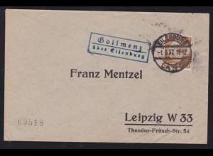 EILENBURG LAND 1.9.37 + R2 Gollmenz über Eilenburg auf Brief nach Leipzig