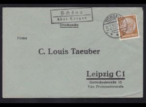 TORGAU **e 18.5.37 + R2 Schöna über Torhau auf Brief nah Leipzig