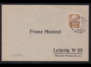 EILENBURG LAND 31.8.37 + R2 Kospa über Eilenburg auf Brief nah Leipzig