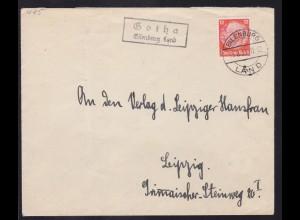 EILENBURG LAND 13.8.33 + R2 Gotha Eilenburg Land auf Brief nah Leipzig