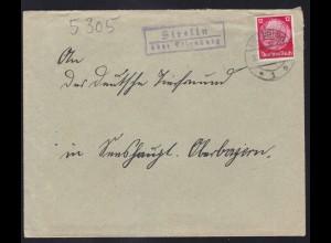 EILENBURG *1e 30.7.36 + R2 Strellm über Eilenburg auf Brief nah Oberbayern