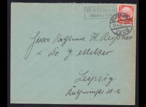 EILENBURG LAND 17.6.33 + R2 Wöllmen Eilenburg Land auf Brief nach Leipzig,