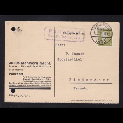 SCHMÖLLN (THÜRING.) LAND 13.7.32 + R2 Paitzdorf Schmölln (Thüring.) Land