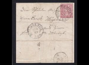 Ziffer 1 Gr. auf Briefvorderseite mit K2 BERLIN P.E. No 12 29.6.69