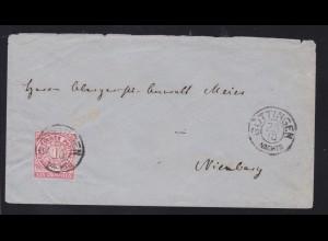 Ziffer 1 Gr. auf Brief mit K2 GÖTTINGEN NACHTS 25.10. nach Nienburg