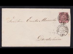 Ziffer 1 Gr. auf Brief mit K2 BRAUNSCHWEIG 18 FEBR 1871 nach Dardesheim