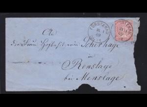 Ziffer 1 Gr. auf Brief mit K1 FÜRSTENAU 21.1.69 nach Renslage,
