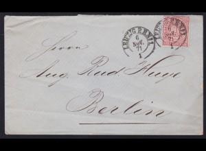 Ziffer 1 Gr. auf Brief mit K2 LEIPZIG P.E. No 1 6 NOV.71 nach Berlin