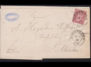 Ziffer 1 Gr. auf Brief mit K2 PADERBORN 12.10.69 nach Minden