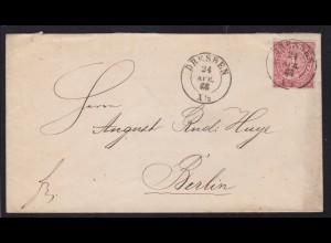 Ziffer 1 Gr. auf Brief mit K2 DRESDEN 24 APR 69 nach Berlin