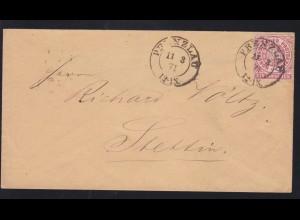 Ziffer 1 Gr. auf Brief mit K2 PRENZLAU 11.3.71 nach Stettin,