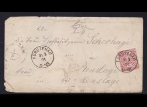 Ziffer 1 Gr. auf Brief mit K1 FÜRSTENAU 31.3.71 nach Renslage,