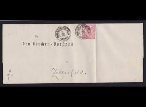 Ziffer 1 Gr. auf Briefhülle mit K2 HANNOVER NACHTS 8.12. nach Zellerfeld