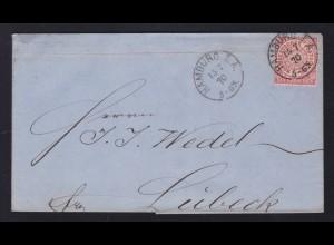 Ziffer 1 Gr. auf Brief mit K1 HAMBURG I.A. 15.7.70 nach Lübeck
