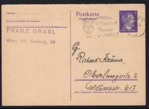 Hitler 6/6 Pfg. Antwortteil ab Wien 30.10.42 nach Oberlungwitz