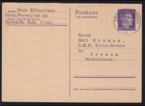 Hitler 6/6 Pfg. Frageteil ab Spitz a.d. Donau 18.3.44 nach Prerau Protektorat