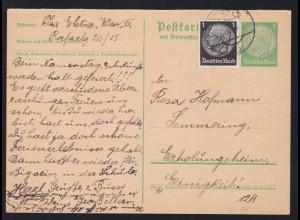 Hindenburg 5/5 Pfg. Frageteil mit Zusatzfrankatur ab Wien 31.8.38 nach Semmering
