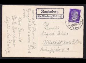 ALTENBURG (THÜRING.) LAND 31.12.43 + R2 Rautenberg über Altenburg (Thüring.)