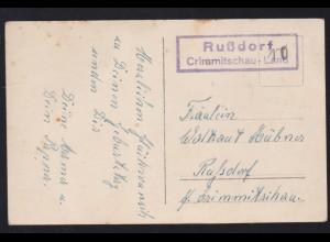 Rußdorf Crimmitschau Land auf unfrankierter Geburtstagskarte nach Rußdorf